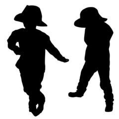 Silhouette of a little boy with hat