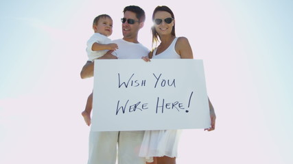 Portrait Young Caucasian Family Commercial Tourism Greeting