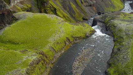 Aerial Landmark Haifoss Waterfall Plateau Gorge Environment Travel Iceland
