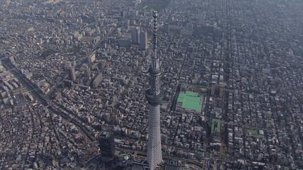 Aerial Tokyo Skytree digital broadcasting observation Tower