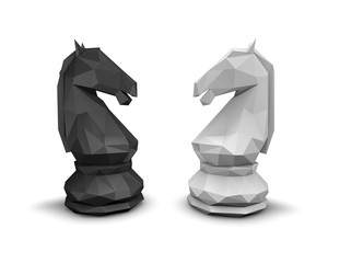 Geometric chess horse black and white, isolated on white.