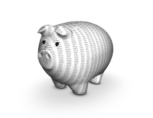 Money and finances concept with 3d piggy.
