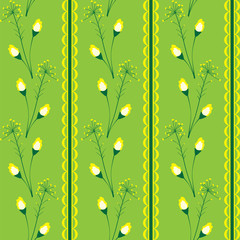 Wallpaper with a floral pattern and yellow ornament