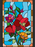 Stained glass with a pattern of beautiful flowers