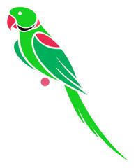 Stylized Parrot - Alexandrine Parakeet