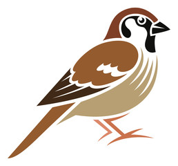 Stylized Bird - Eurasian Tree Sparrow