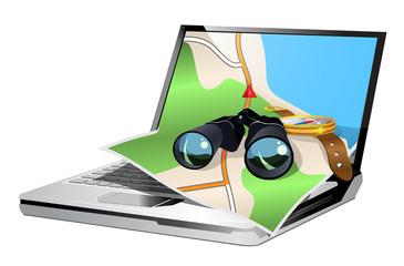 illustration of the gps navigation on laptop