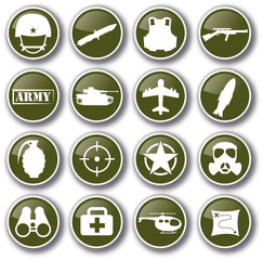 military army icon set vector