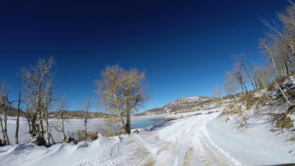 POV vehicle road drive sandstone rock extreme terrain Zion National Park Utah