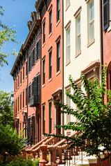 elegant row houses of red bricks