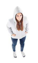 Sad teenager girl with gray sweatshirt hooded