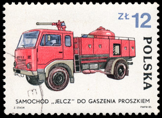 Stamp printed in Poland shows development of the Fire Brigade
