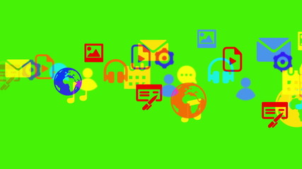 Motion graphic multimedia icon symbols cloud transfer streaming