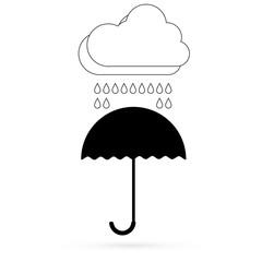 Cloud with a black umbrella. Vector.