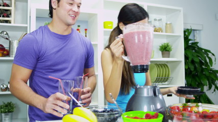 Healthy Lifestyle Ethnic Couple Organic Fruit Smoothie