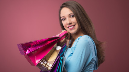 Cheerful woman shopping