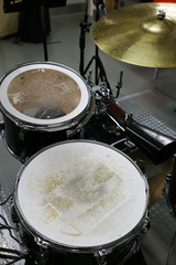 Drum set in training room. Music equipment in training room.