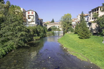 Landscape river bridge in the village of Ripoll