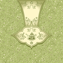Background  with  seamless pattern in doodle style for Tea