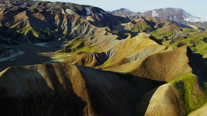 Aerial colourful highland volcanic landscape wildlife National Park Iceland