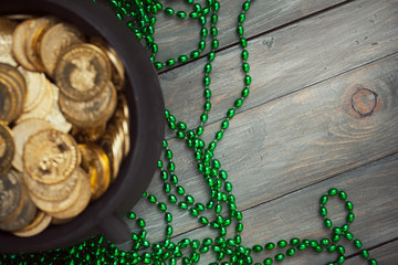 Green: Background with Pot Of Gold and Green Bead Necklaces