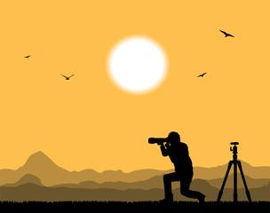 silhouette di fotografo