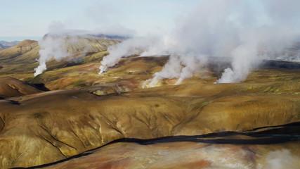 Aerial steam venting volcanic thermal energy Landmannalaugar