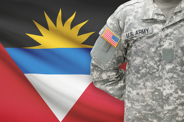American soldier with flag on background - Antigua and Barbuda