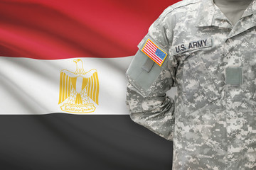 American soldier with flag on background - Egypt