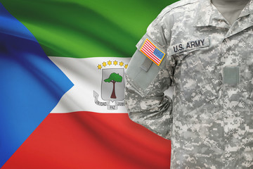 American soldier with flag - Equatorial Guinea