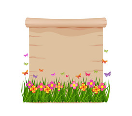 Concept grass and butterflies of spring with blank paper