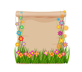 Concept grass of spring with blank paper