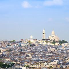 Paris, Montmartre hill and Sacre Coeur Basilica church. France,