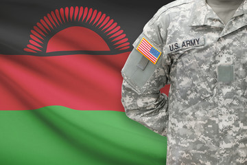 American soldier with flag on background - Malawi