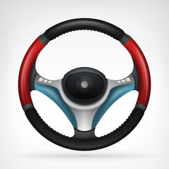 racing steering wheel with red side handle isolated in top view