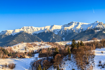 Bucegi mountains(Carpathians) seen from Pestera village,Romania