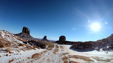 POV snow driving Monument Valley Tribal Indian Park Arizona USA