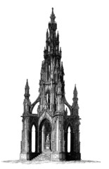 Victorian engraving of a Gothic tower monument