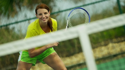 Young Caucasian Girl Playing Tennis Outdoor Court