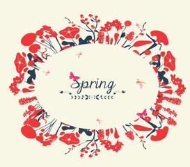 Blossom into spring postcard vintage