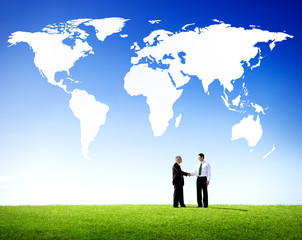 Successful Global Business Agreement Handshake Concept
