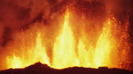 Lava Rivers Nature Molten Fire Eruption Holuhraun Volcano Night Iceland