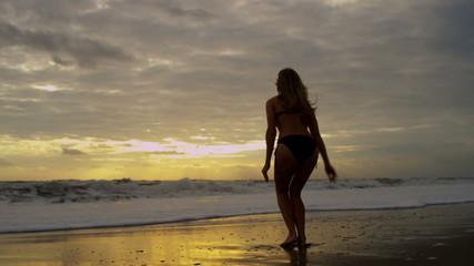 Caucasian Girl Wearing Bikini Sunrise Loving Beach Lifestyle