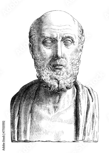 Victorian engraving of a bust of Hippocrates - 77031192