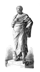 Victorian engraving of a sculpture of Sophocles