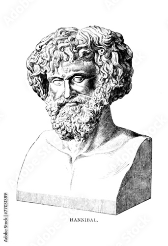Victorian engraving of a bust of Hannibal - 77031399
