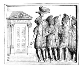 Victorian engraving of a frieze of the Praetorian Guard of ancie