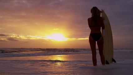 Blonde Surfer Girl Beach Sunrise Watching Waves