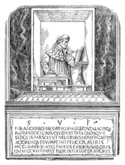 19th century engraving of the tomb of Dante, Florence, Italy