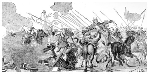 Victorian engraving of a     mosaic of the Battle of Issos, Pomp